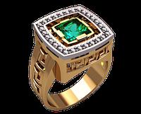 Мужское золотое кольцо Майя
