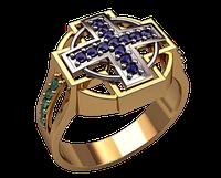 Мужское золотое кольцо христианство