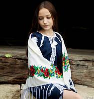 Українська хустка (100х100 см, біла) - Старовинна, фото 1