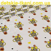 Бязь польская с зебрами в жёлтых очках (№ 830а)