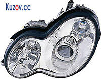 Фара Mercedes C-Class W203 00-07 правая (DEPO) электрич., рифленый рассеиватель, D2S+H7