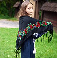 Українська хустка (100х100 см, чорна) - Старовинна, фото 1