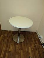 Стол белый Верзалит с опорой из нержавеющей стали