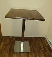Стол для кафе бара ресторана Дуб античный с подстольем из нержавеющей стали