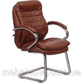 Кресло офисное для посетителей переговорных Барселона хром цвет черный, коричневый, красный ...