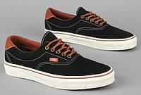 Кеды женские Vans Era 59 черный/коричневый (белая подошва)