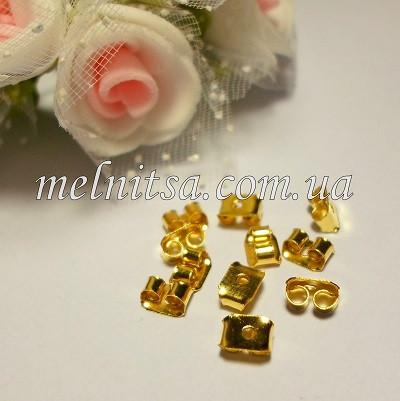 Зажим-заглушка для пуссет,  золото, 10шт
