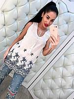 Красивая котоновая белая блузка с вышивкой тренд 2017!