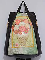 Рюкзак кож.зам. два кармана с наружи цвет коричневый, фото 1