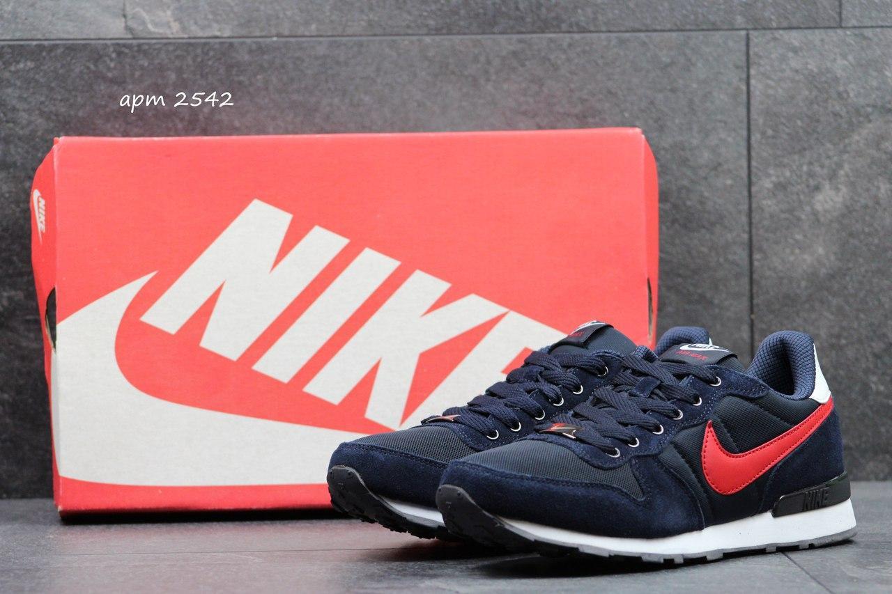 Летние мужские кроссовки Nike синие с красным 44