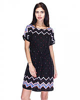 Модное нежное летнее стильное платье-туника , черное , большие размеры