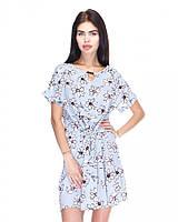 Нежное летнее стильное платье-туника с цветочным принтом, серое, большие размеры