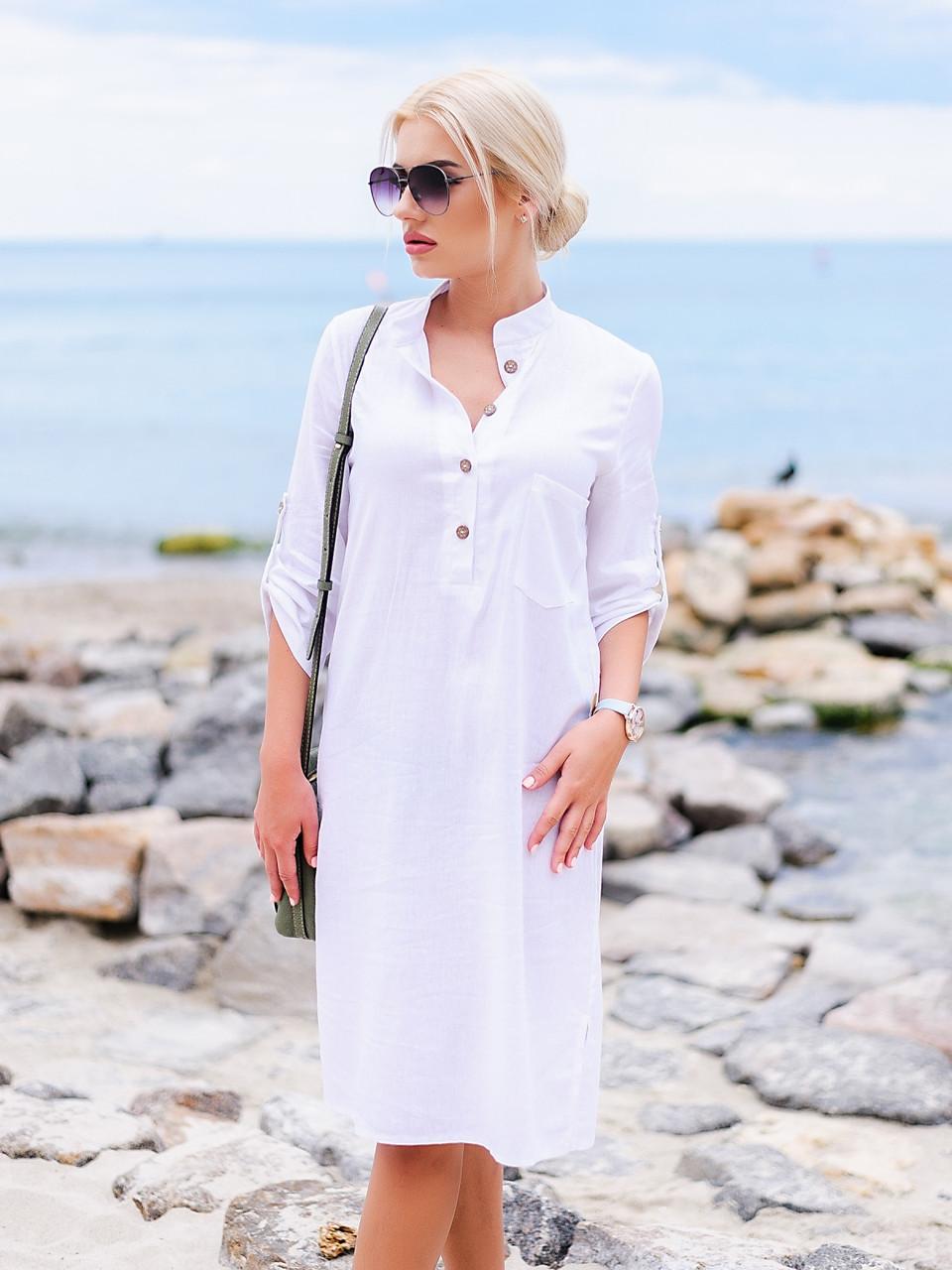 e30f7a6ecc2964b Летнее женское белое льняное платье р.44-46, р.48-50, р.52-54 ...