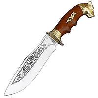 """Охотничий нож Спутник """"Пантера"""", овальное сечение ручки, выемки под пальцы, изображения пантеры"""