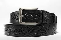 Ремень кожаный 'Tattoo' 40 мм черный с узором