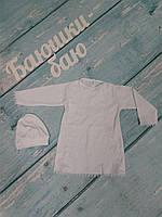 Крестильная рубашка+колпачок, белый, интерлок