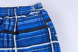 Чоловічі шорти в клітинку великого розміру (плащівка), синього кольору, фото 2