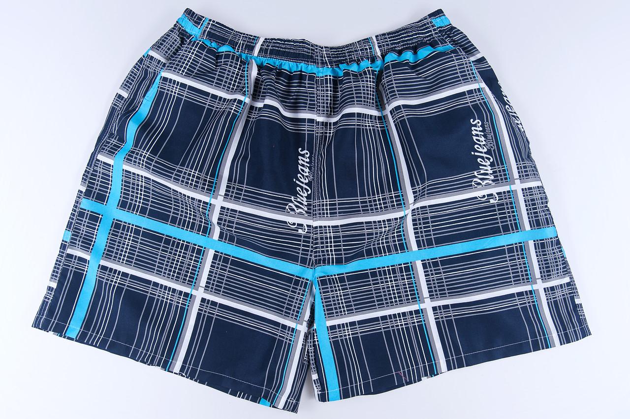 Чоловічі шорти в клітинку великого розміру (плащівка), темно-синього кольору
