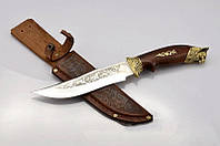 """Охотничий нож Спутник """"Рысь"""", наконечник  голова рыси, изображение на клинке, удобный и прочный помощник"""