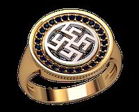 Мужское золотое кольцо Цветок Папоротника