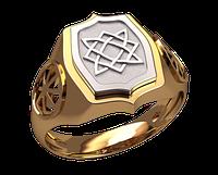Золотое мужское кольцо звезда Лады