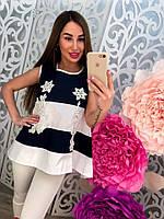Стильная блузка распашонка с вышивкой в полоску тренд 2017 года