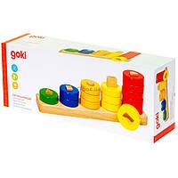 Развивающая игрушка Goki Пирамидка Учим фигуры (58968)