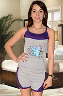 Пижама (майка и шорты) (Серый с фиолетовым)
