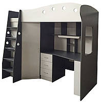 Детский двухярусный комплект мебели из МДФ (кровать + шкаф + стол, высота 194 см)
