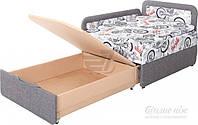 Детская кровать диван выдвижная с нишей для белья серая правая