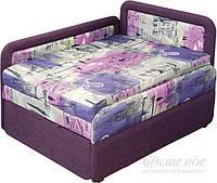 Детская кровать диван с бортиком выдвижная с нишей для белья фиолетовая правая