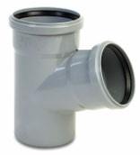 Тройник ПВХ Wavin с раструбами и уплотнительными кольцами для внутренней канализации серый 110х110/67º