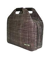 Женская сумка-портфель кожаная бежево-коричневая, фото 1
