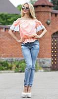Персиковая блуза с открытыми плечами