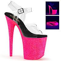 Высокая прозрачная обувь в блестках FLAMINGO