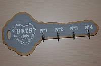Настінна ключниця-вішалка дерев'яна, фото 1