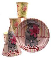 """Набор """"Тедди"""" розовый. Тарелки (18см) -10шт. Стаканчики (250 мл)- 10 шт. Колпачки (16см) -10 шт"""