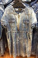 Стильное джинсовое платье с бусинками и карманами батал