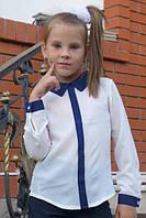 Детская блузка школа планка длинный рукав молоко