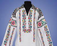 Женская вышиванка  с вышитым рубашечным воротничком