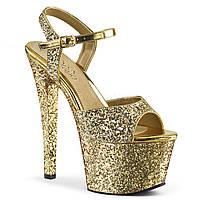 Золотые босоножки в блестках
