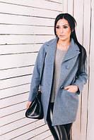 TM Ozze Женское весеннее пальто из шерсти голубой  Д 112
