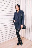 TM Ozze Женское весеннее пальто из шерсти цвета джинс Д112