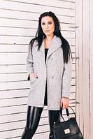 TM Ozze Женское весеннее пальто из светло-серой шерсти  Д112
