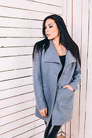 TM Ozze Женское пальто весеннее из шерсти голубой Д 220