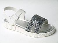 Босоножки серебристые DF- Shoes для девочки, cиликон+резина, размер 26/27