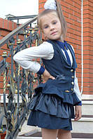 Детский сарафан школа пуговка синий