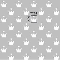Хлопковая ткань короны белые на сером