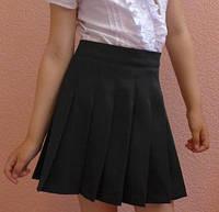 Детская юбка на девочку школа складочка черный