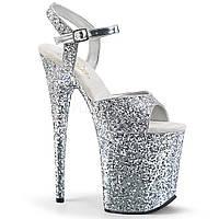 Cтрип обувь Pleaser в серебристых блестках